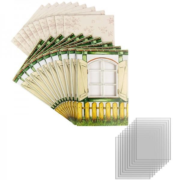 """Sichtfolien-Grußkarten """"Fenster 1"""", 11,5cm x 16,5cm, inkl. Einleger & Umschläge, 40-teili"""