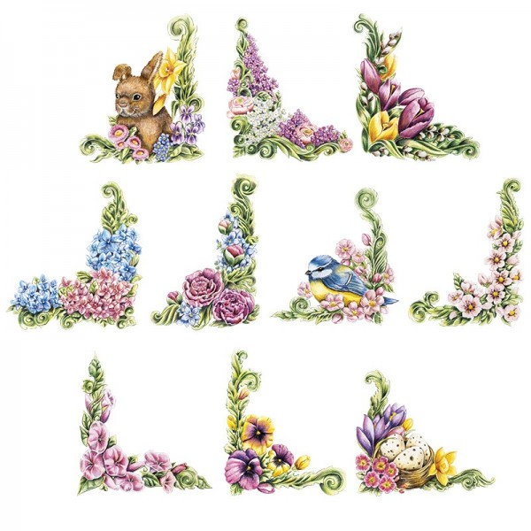 3-D Motive, Zauberhafte Frühlings-Ecken, 7-9,5cm, 10 Stück