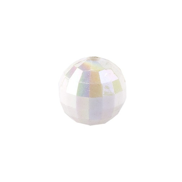 Perlen, facettiert, Ø 6mm, weiß-irisierend, 150 Stk.