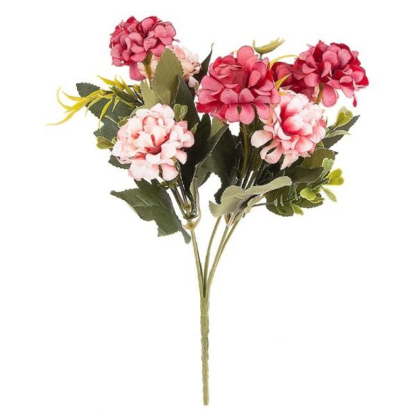Blütenbusch, Hortensien 1, 27cm hoch, 9 große Blüten Ø 4cm, Rottöne