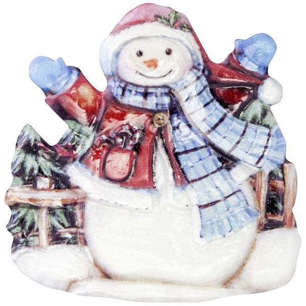 Wachsornament Fröhl. Schneemänner 9, farbig, geprägt, 7cm