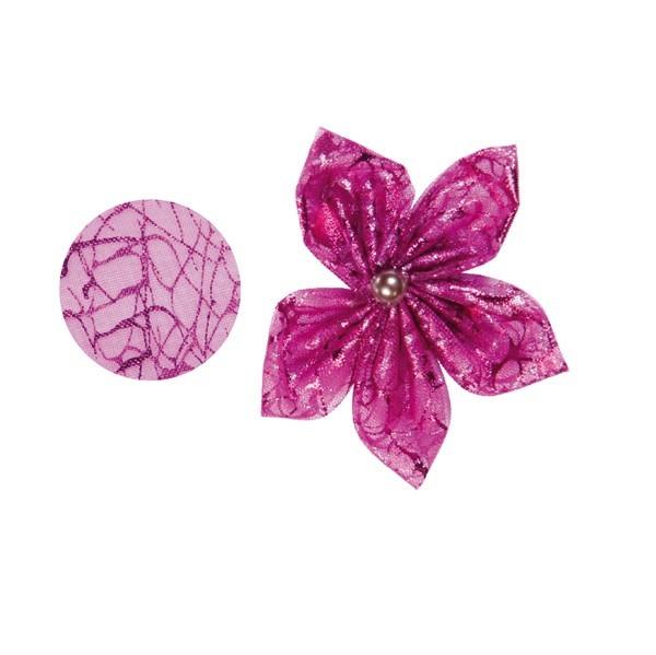 Organza-Stanzform, Krakelee, rund, Ø8cm, pink, 50 Stück