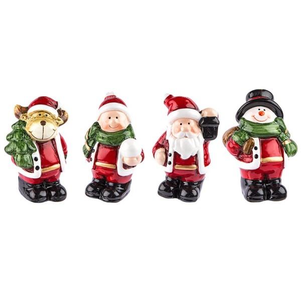 Deko-Figuren, Weihnachten 2, 7cm hoch, stehend, 4 Stück