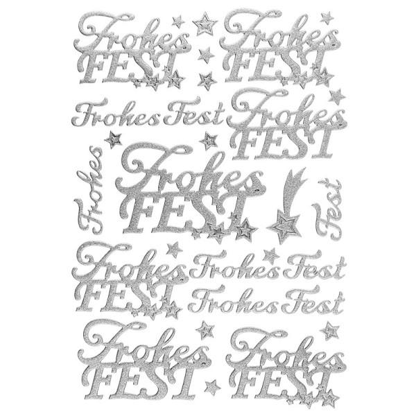 """3-D Sticker, Deluxe Schriften """"Frohes Fest"""", verschiedene Größen, selbstklebend, silber"""