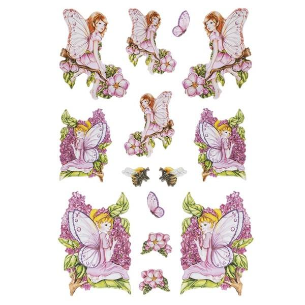 3-D Relief-Sticker, Zauberhafte Elfen 1, 21cm x 30cm, verschiedene Größen, selbstklebend