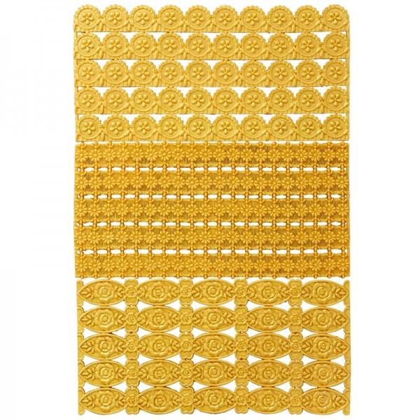 Wachs-Bordüren, Blumen, goldfarbig, 3er Set