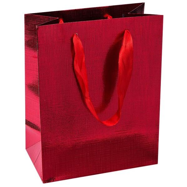 Geschenktaschen, 23cm x 18cm x 10cm, rot, 3 Stück