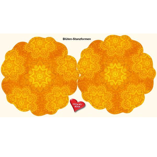 Blüten-Stanzbogen, 2 Blüten, Ø15cm, orange, 6er Set