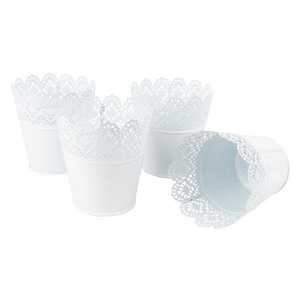 Zink-Übertöpfe, Ø 9cm, 10,9cm hoch, weiß, mit Blumenbordüre, 4 Stück
