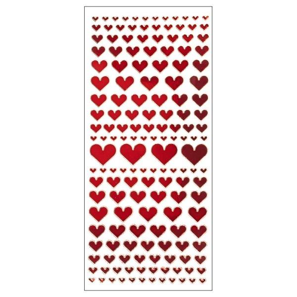 Sticker, Spiegelfolie, Herzen, rot
