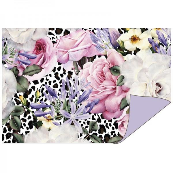 Faltpapiere Duo-Design 16, 10cm x 15cm, Blumen/flieder, 50 Stück