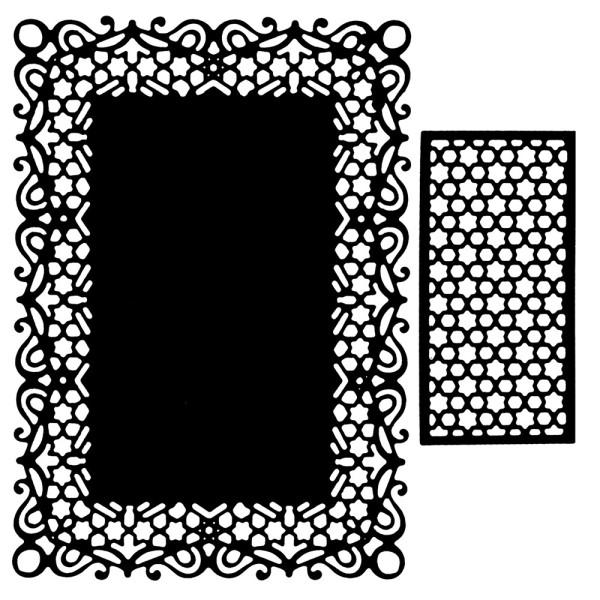 Präge-& Stanzschablonen, Rahmen & Zierdeckchen 1, 2 Stück