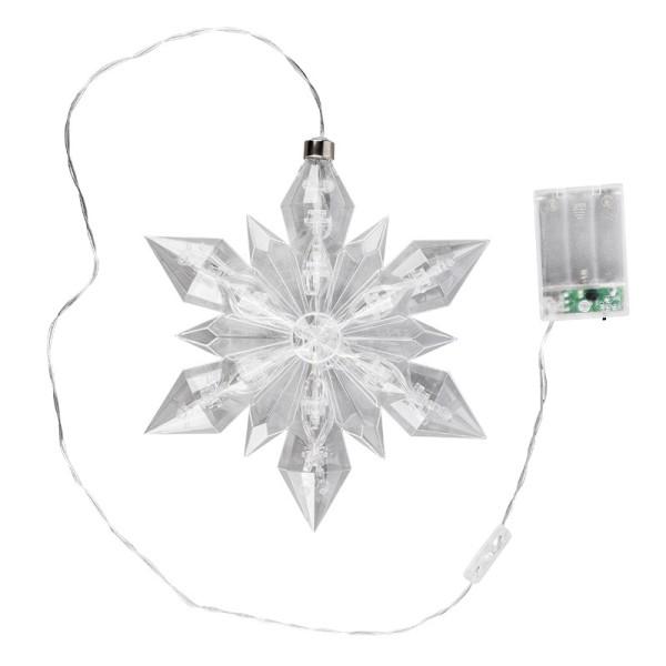 LED-Eiskristall, 23cm x 20cm, 25 LED-Lämpchen, warmweiß, transparent, klar, Timer
