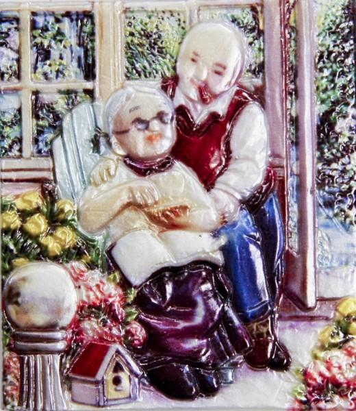 Wachsbild, Oma & Opa im Schaukelstuhl, 8 x 7 cm