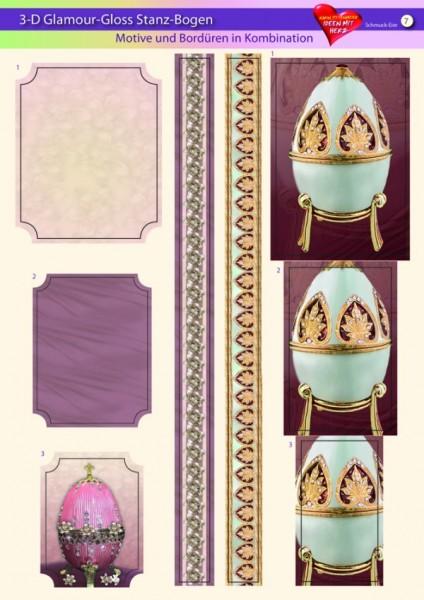 3-D GlamourGloss Bogen, Schmuck-Eier, DIN A4, Motiv 7