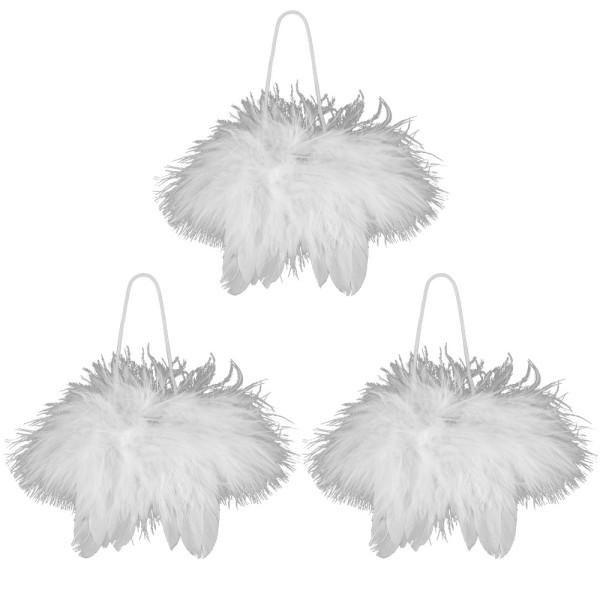 Engelsflügel aus weißen Federn, 8cm x 10cm, zum Aufhängen, 3 Stück