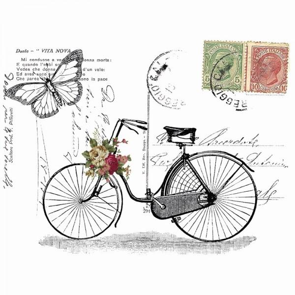 Color Bügeltransfers, DIN A4, filigran ohne Hintergund, Vintage Fahrrad
