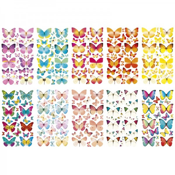 Glimmer-Relief-Sticker, Schmetterlinge, 11,5x20cm, 10 Stück