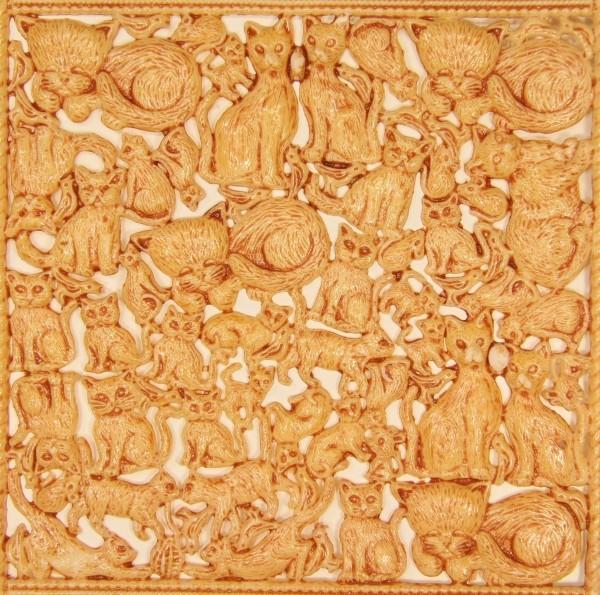Wachsornament-Platte Katzen, 16 x 16 cm, hellbraun-glanzlack