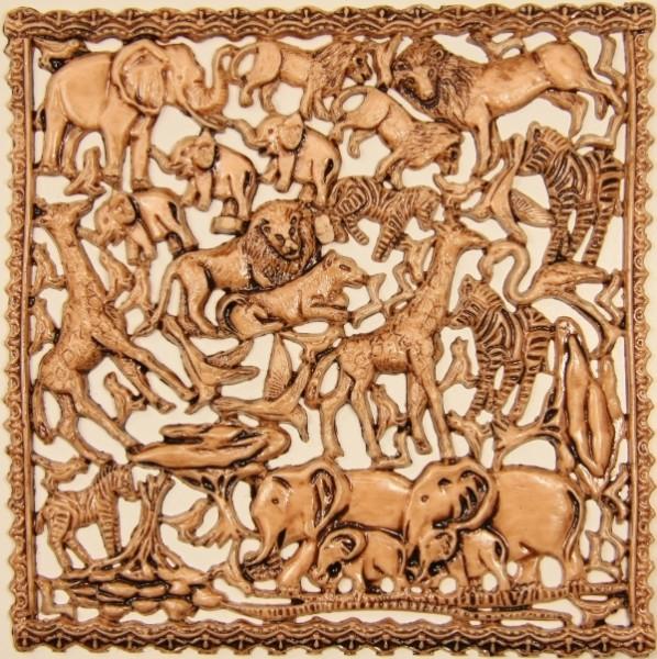 Wachsornament-Platte Afrika, 16 x 16 cm, sand patiniert