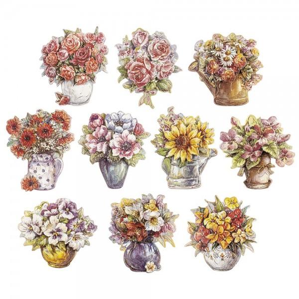3-D Motive, Blumen in Vase, 9cm x 9cm, 10 Motive