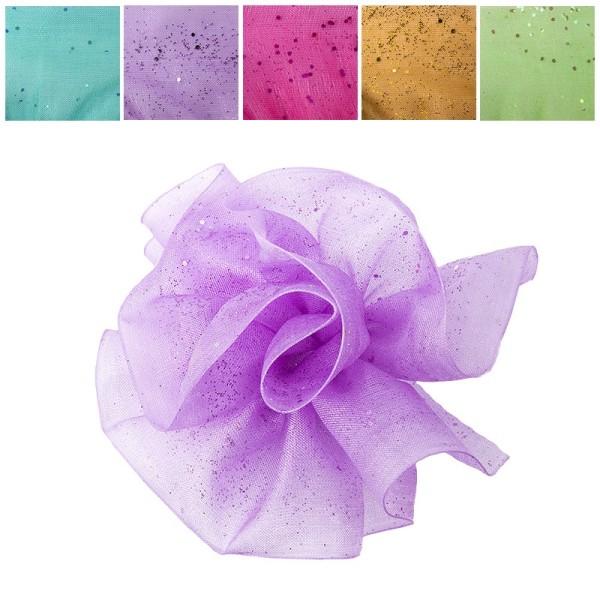 Zieh-Rüschen, Organza mit Glimmer-Effekt, 1m x 38mm, Pastell-Farben, 10 Stück