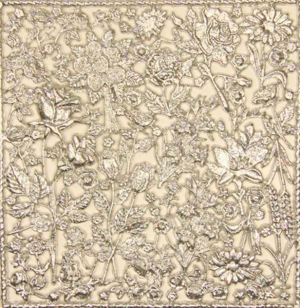 Wachsornament-Platte Rosen, 16 x 16 cm, silber