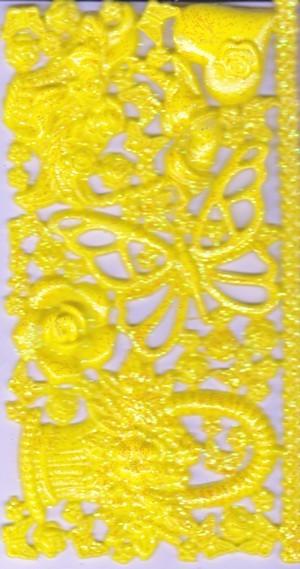 Wachsornament-Platte Frühling, 16 x 8 cm gelb mit Glimmer