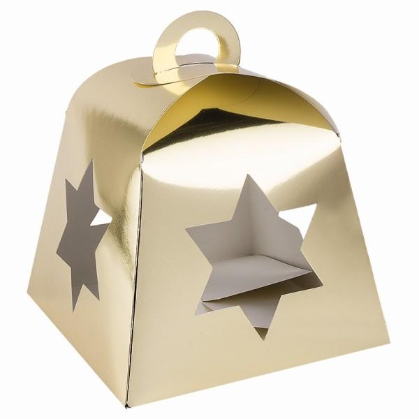 Faltboxen mit Stern-Ausstanzungen, geklebt, 17cm x 17cm x 13,5cm, Spiegelkarton, gold, 5 Stück