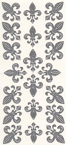 Microglitter-Sticker, Französische Lilie, silber