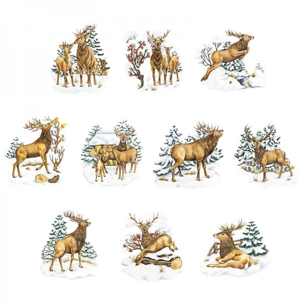 3-D Motive, Rehe & Hirsche im Winter, 7-9cm, 10 Motive