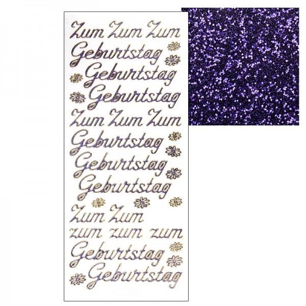 "Microglitter-Sticker, ""Zum Geburtstag"", lila"