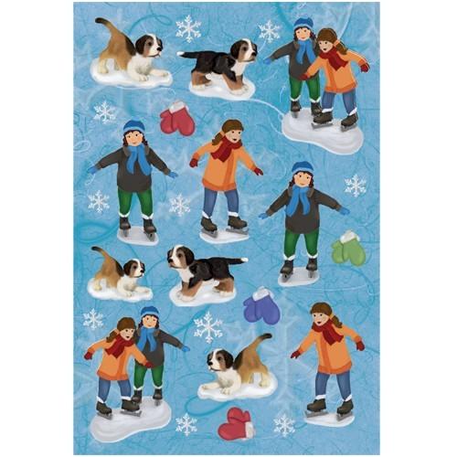 3-D Stickerbogen, Kinder mit Schlittschuhen, 12,5 x 18,5 cm