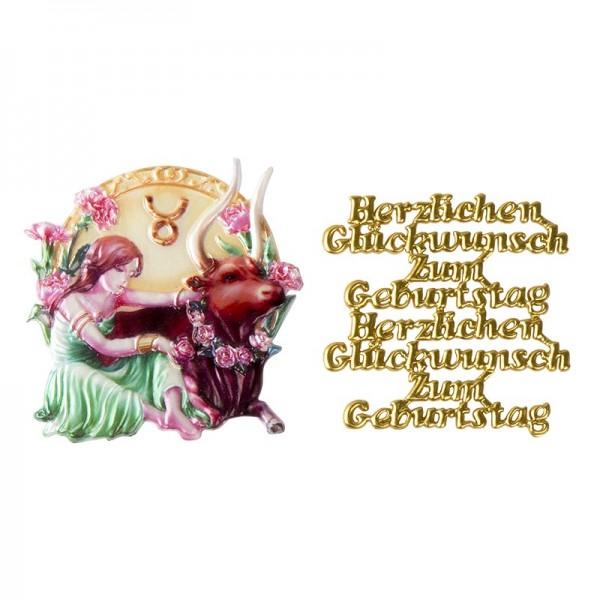 Wachsornamente, Sternzeichen Stier & Herzlichen Glückwunsch, 2 Stück