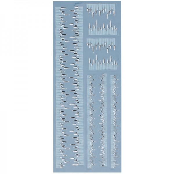 Metallic-Relief-Sticker, Eiszapfen, 12,5 x 30,5 cm