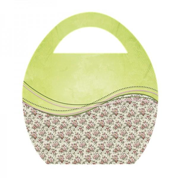 """Deko-Bild """"Ei-Tasche mit Blumen-Schwung"""", mit Griff, 20x23cm, grün, 2 Stück"""