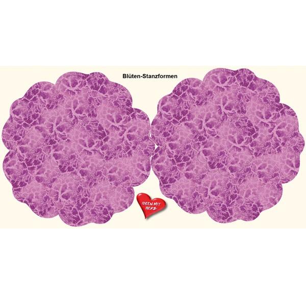 Blüten-Stanzbogen, 2 Blüten, Ø15cm, violett. 6er Set