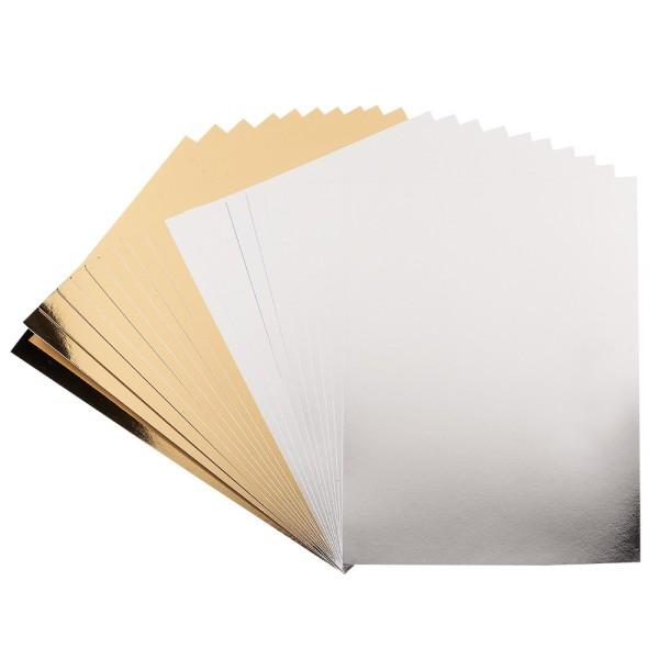 Spiegel-Karton, DIN A4, 200 g/m², je 10x silber, hellgold, selbstklebend, 20 Bogen