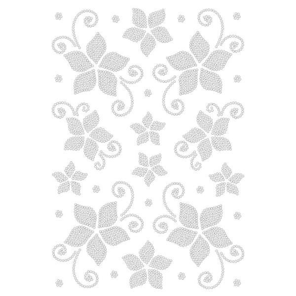 Bügelstrass-Design, DIN A4, klar, Blüten