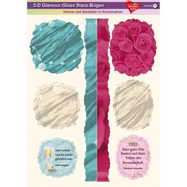 3-D GlamourGloss Bogen, Hochzeit, DIN A4, Motiv 4