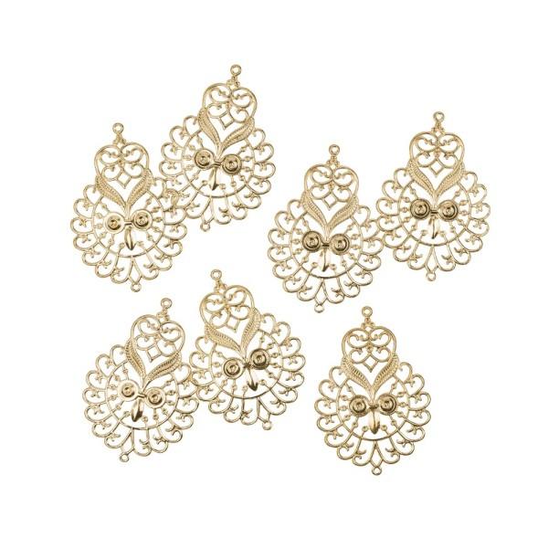 Metall-Ornamente, Design 16, 6,7cm x 4,6cm, hellgold, 7 Stück