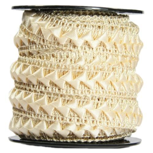 Bordürenband, Stoff, edle Dreiecke, 17mm x 10m, beige