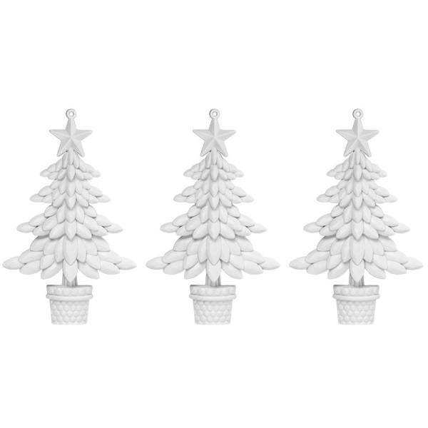 Winter-Deko, Rohling, Tannenbaum 3, 9,5cm x 10cm, weiß, 3 Stück