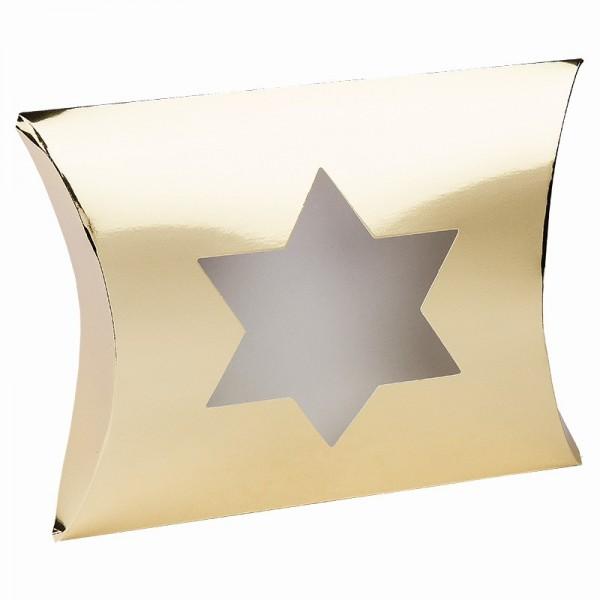 Kissentaschen mit Stern-Ausstanzung, 14cm x 15cm x 11,5cm, Spiegelkarton, gold, 10 Stück
