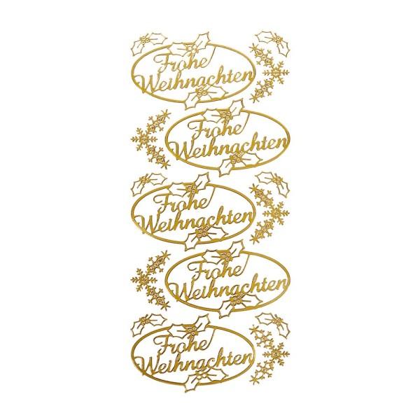 Sticker, Frohe Weihnachten, gold