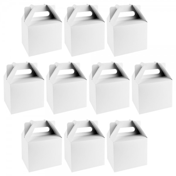 Geschenkboxen, Design 1, 11cm x 9cm x 14cm, 250 g/m², weiß, 10 Stück