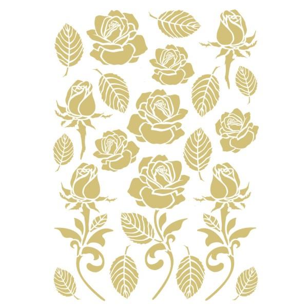 Metallic-Bügeltransfers, Rosen & Blätter, DIN A4, gold glänzend