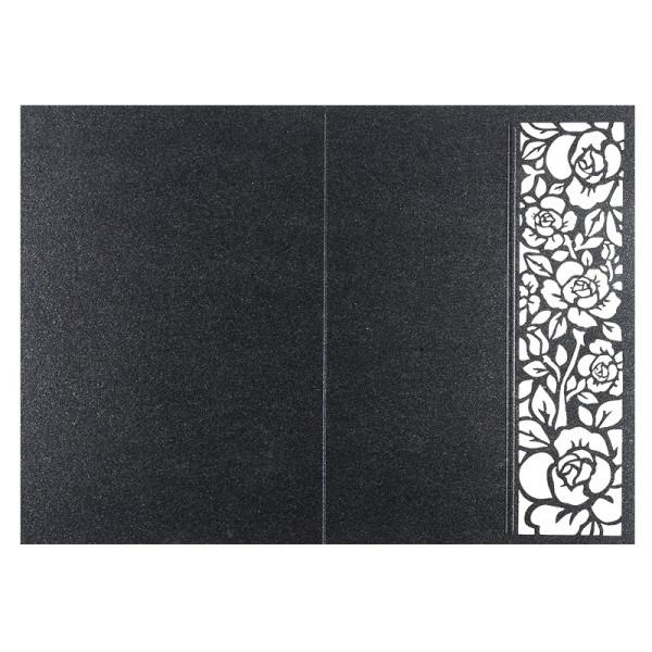 Laser-Grußkarten, Rose, B6, anthrazit, inkl. Einleger & Umschläge, 5 Stück