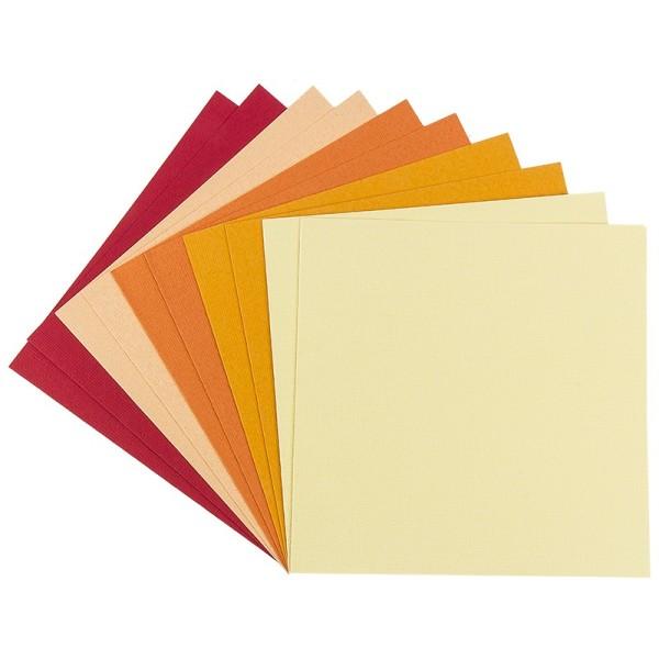 """Grußkarten """"Anna"""" in Leinen-Optik, 16x16cm, 5 Farben, Rot-/Gelbtöne, inkl. Umschläge, 10 Stück"""