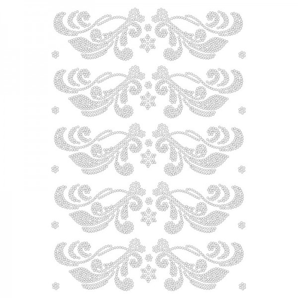 Bügelstrass-Design, DIN A4, klar, Ornamente 5